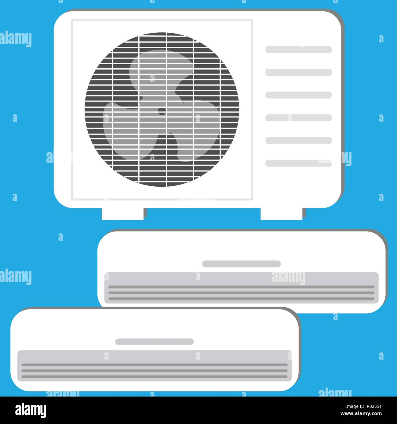 Air conditioner system: oudoor unit and two indoor units - Stock Vector