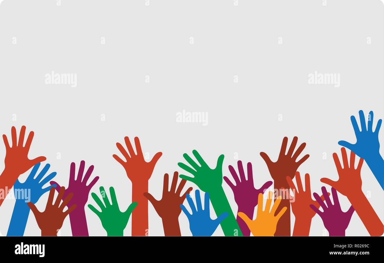 Hands up of different colors conceptual vector - Stock Vector