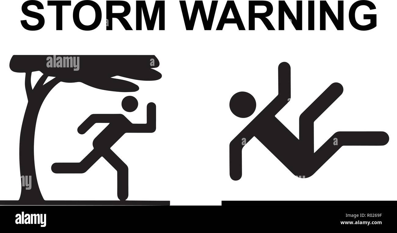 Storm hazard vector with two icons and text - Stock Vector