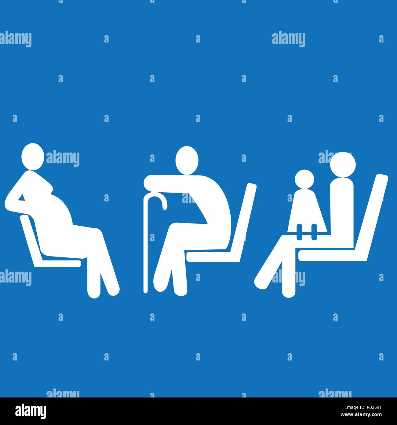 Priority seating for pregnant women, woman with baby and seniors - Stock Vector