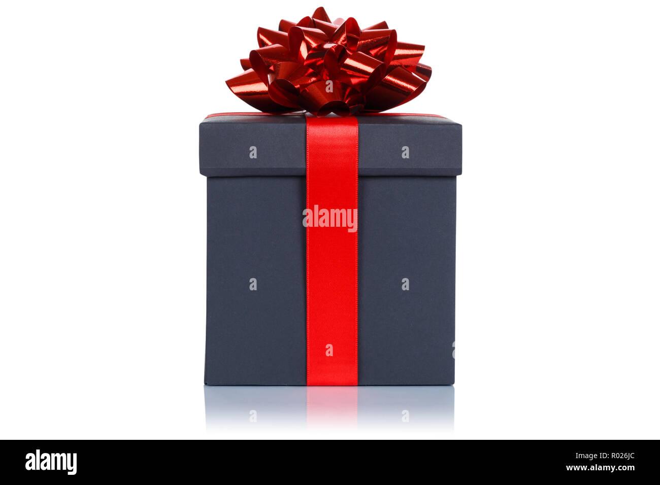 Christmas birthday gift present wedding black box isolated on a white background - Stock Image