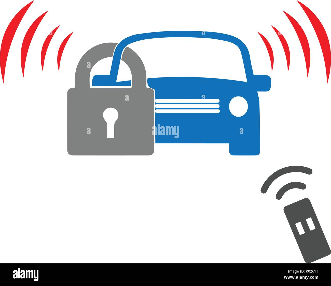 Car security system with remote control - Stock Vector