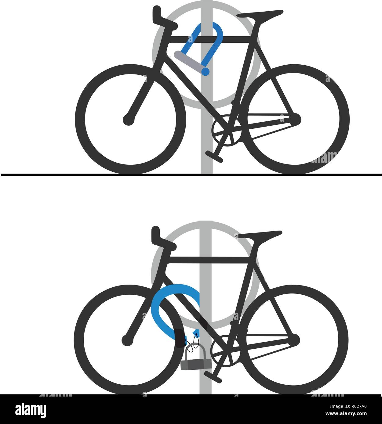 Two anti theft locks for bicycle - Stock Vector