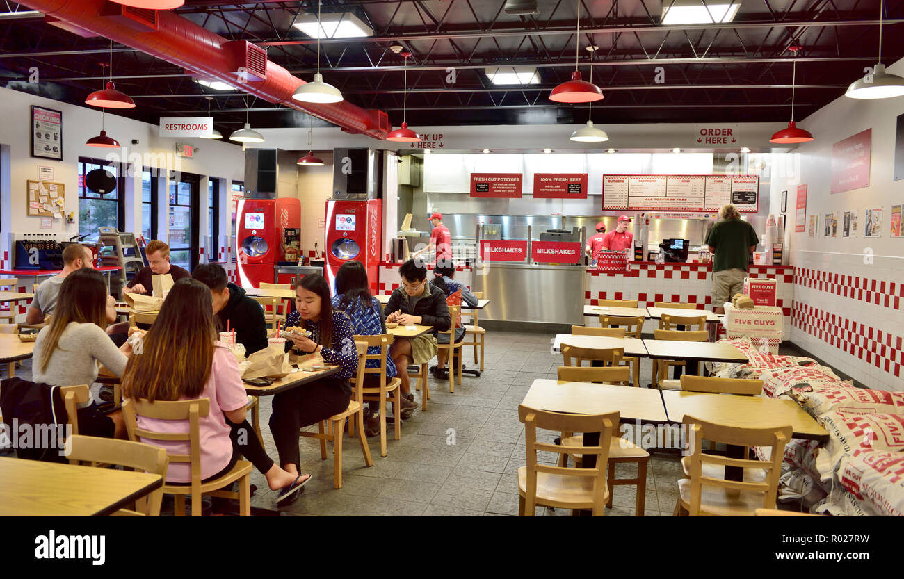 Inside Five Guys fast-food chain serving burgers, fresh fries branch in Ithaca NY, USA. Takeaway, eat in. - Stock Image