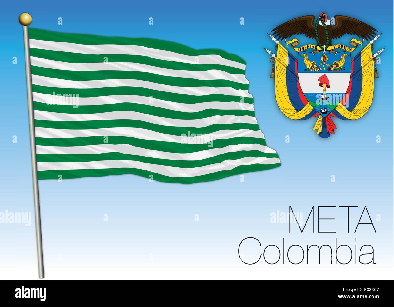 Meta regional flag, Republica de Colombia, vector illustration - Stock Image