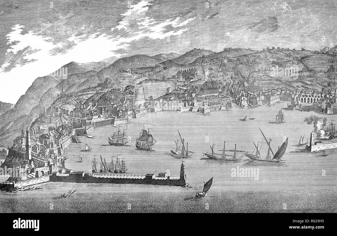 View of Port and city of Genoa print of engraver Torricellii 1770 Italy - Stock Image