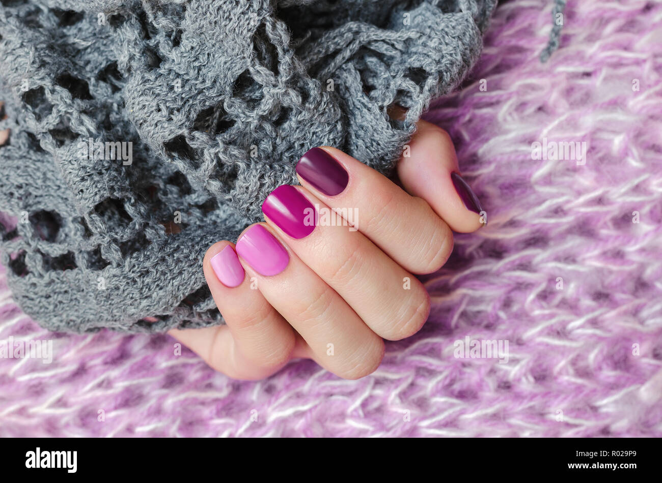 Pink Nail Design Beautiful Female Hand With Different Shades Of Pink Manicure Stock Photo Alamy