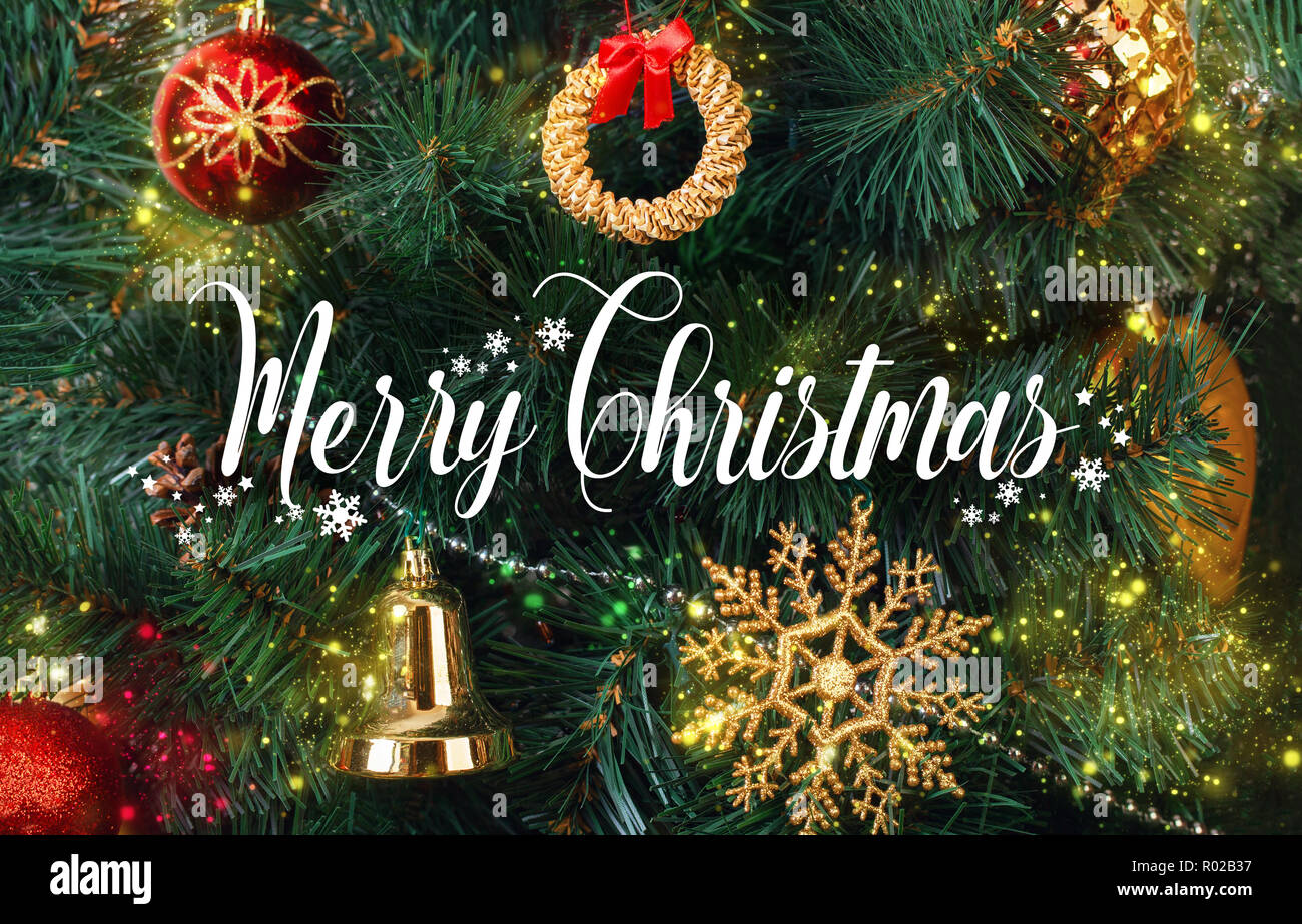 Greeting Card With The Wish Merry Christmas In English Against The