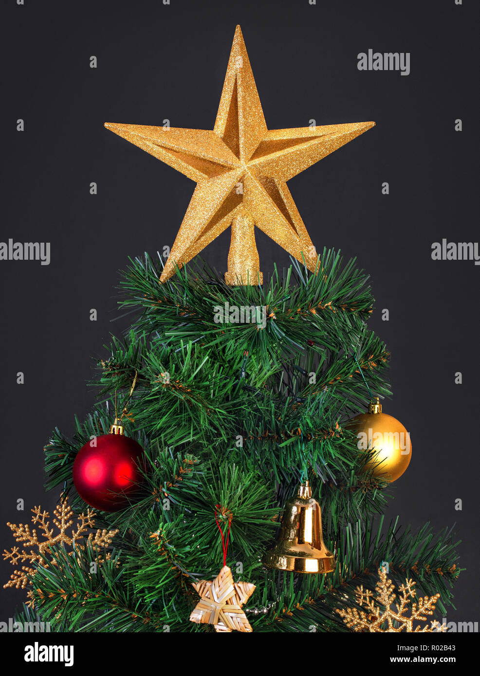 Vintage Artificial Christmas Trees.Gold Red And Straw Vintage Decorations In The Scandinavian Style On