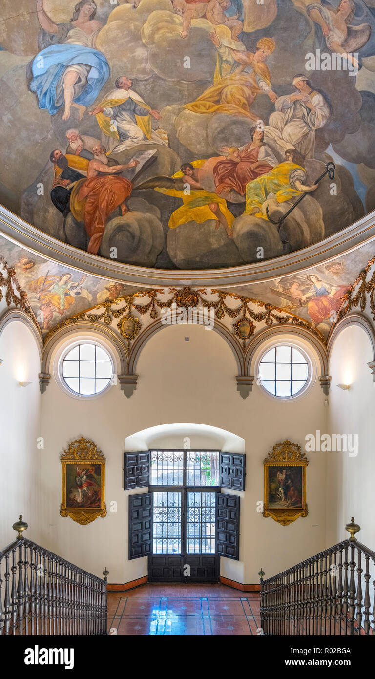 Interior of the Palacio Episcopal (Bishop's Palace), which houses a small museum, Old Town, Malaga, Costa del Sol, Andalucia, Spain - Stock Image