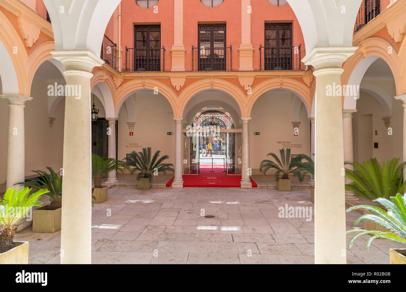 Patio in the Palacio Episcopal (Bishop's Palace), which houses a small museum, Old Town, Malaga, Costa del Sol, Andalucia, Spain - Stock Image
