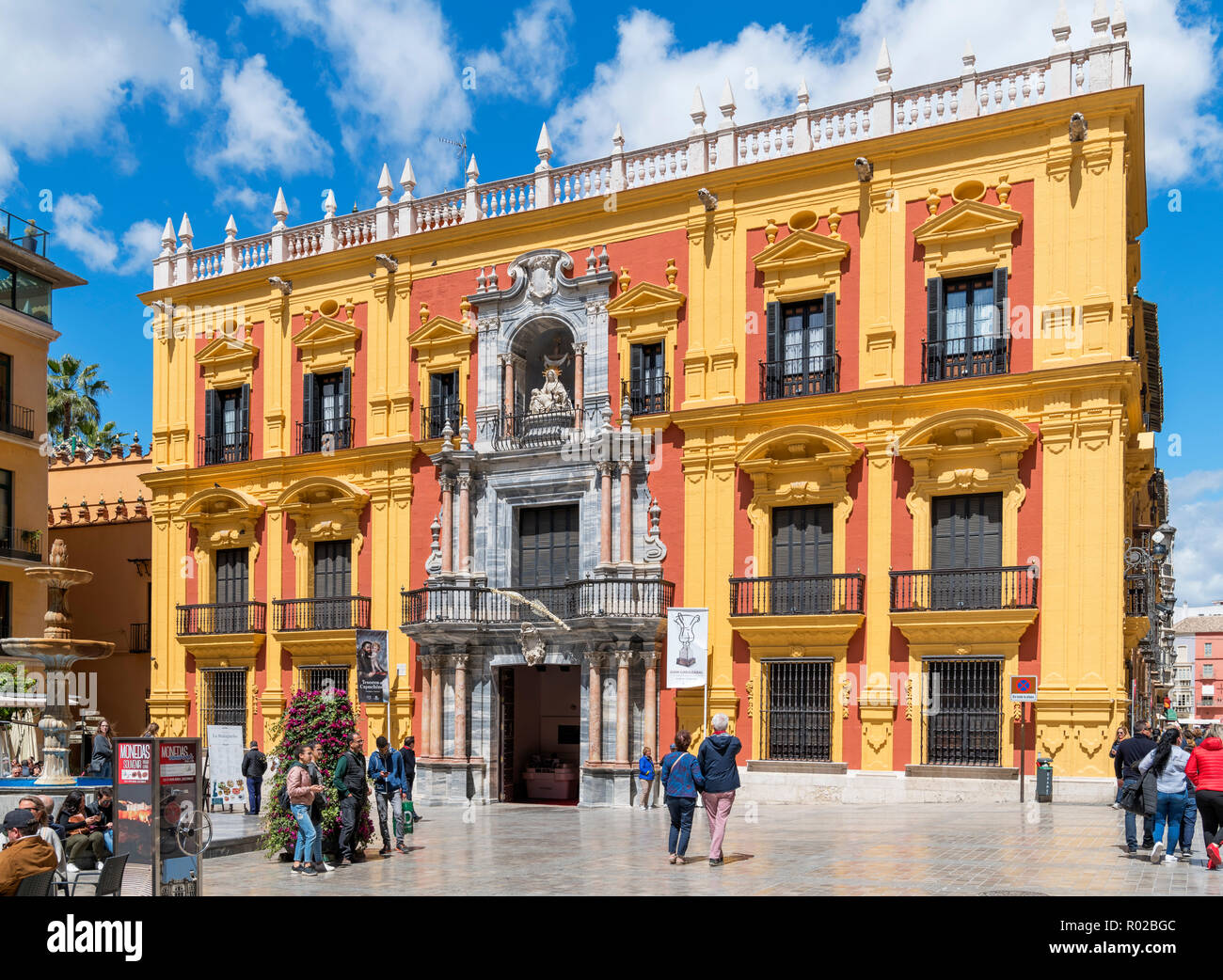The Palacio Episcopal (Bishop's Palace), which houses a small museum, Plaza del Obispo, Old Town, Malaga, Costa del Sol, Andalucia, Spain - Stock Image