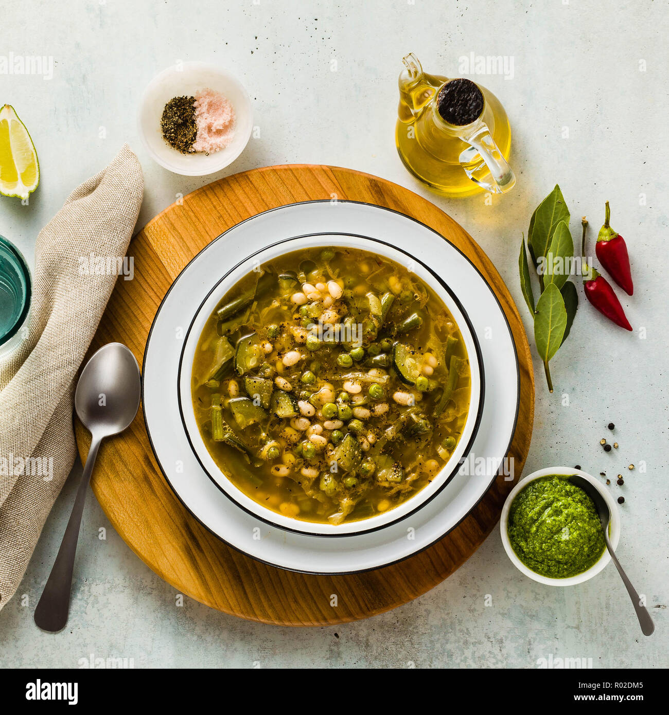 gluten free green minestrone with cannellini beans  on the