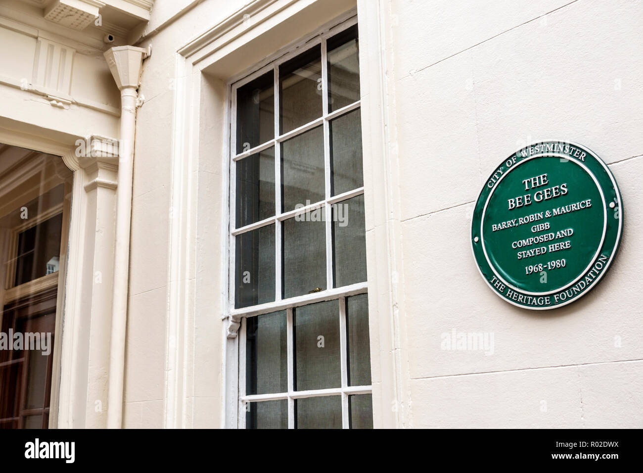 London England United Kingdom Great Britain Mayfair Brook Street City of Westminster Heritage Foundation historical marker plaque Bee Gees Barry Robin - Stock Image