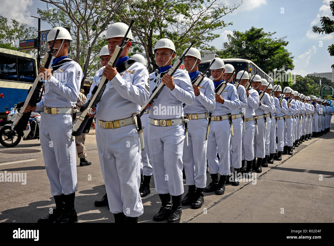 Thailand navy personnel on parade in full military whites. - Stock Image