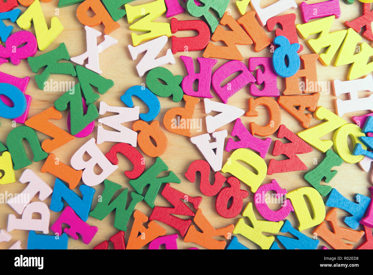 Color wooden letters of the English alphabet - Stock Image