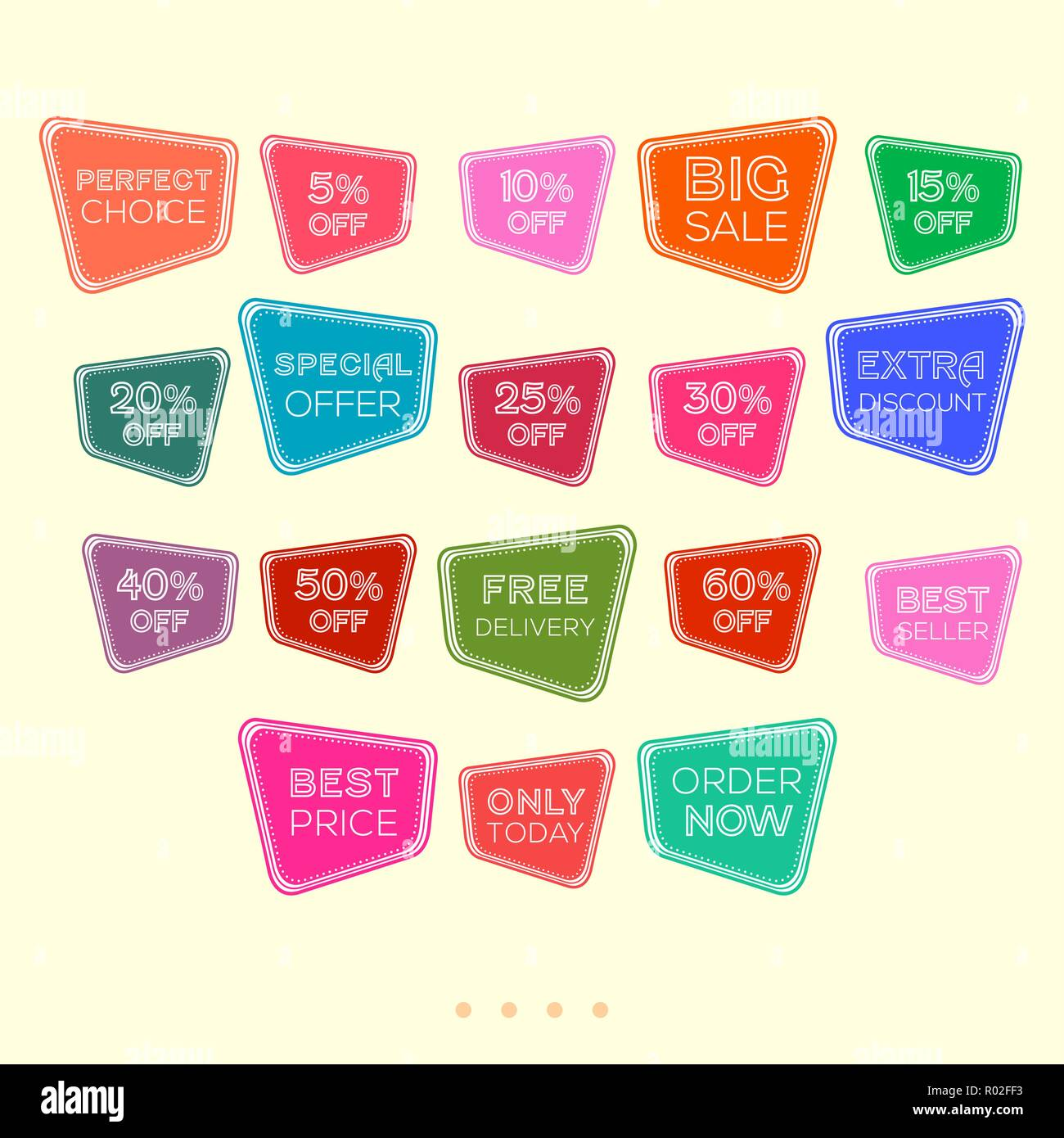 Set of colorful abstract sale stickers tags vintage design for stickers web page ad tickets discount offer price labels badges coupon etc