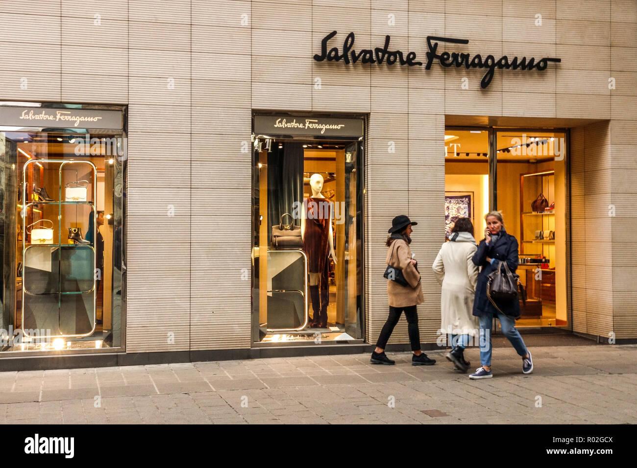 Vienna shopping, Salvatore Ferragamo store, Kohlmarkt, Austria, Europe - Stock Image
