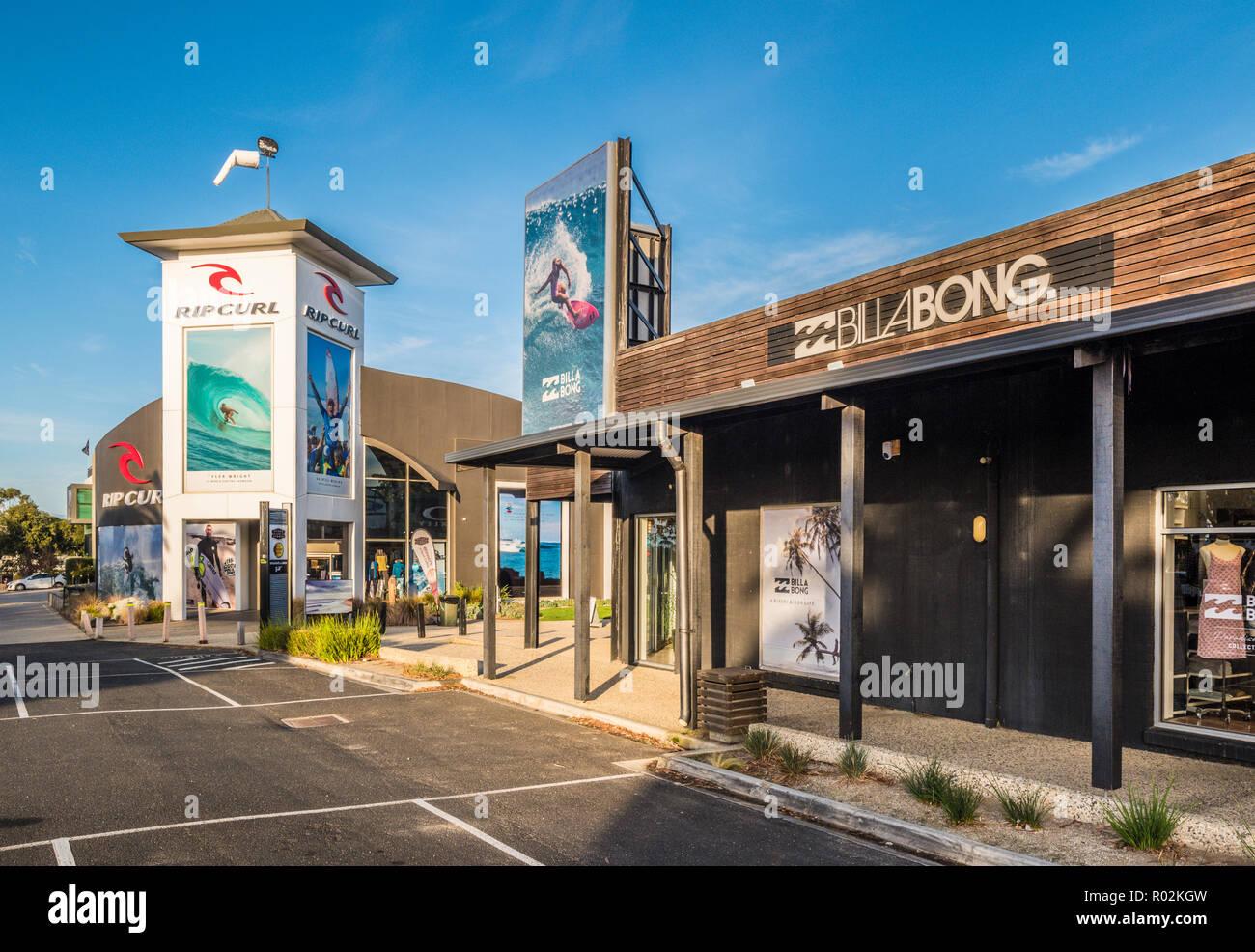 Rip Curl and Billabong surf shops at Surf Coast Plaza, Torquay, Surf Coast Shire, Great Ocean Road, Victoria, Australia. - Stock Image
