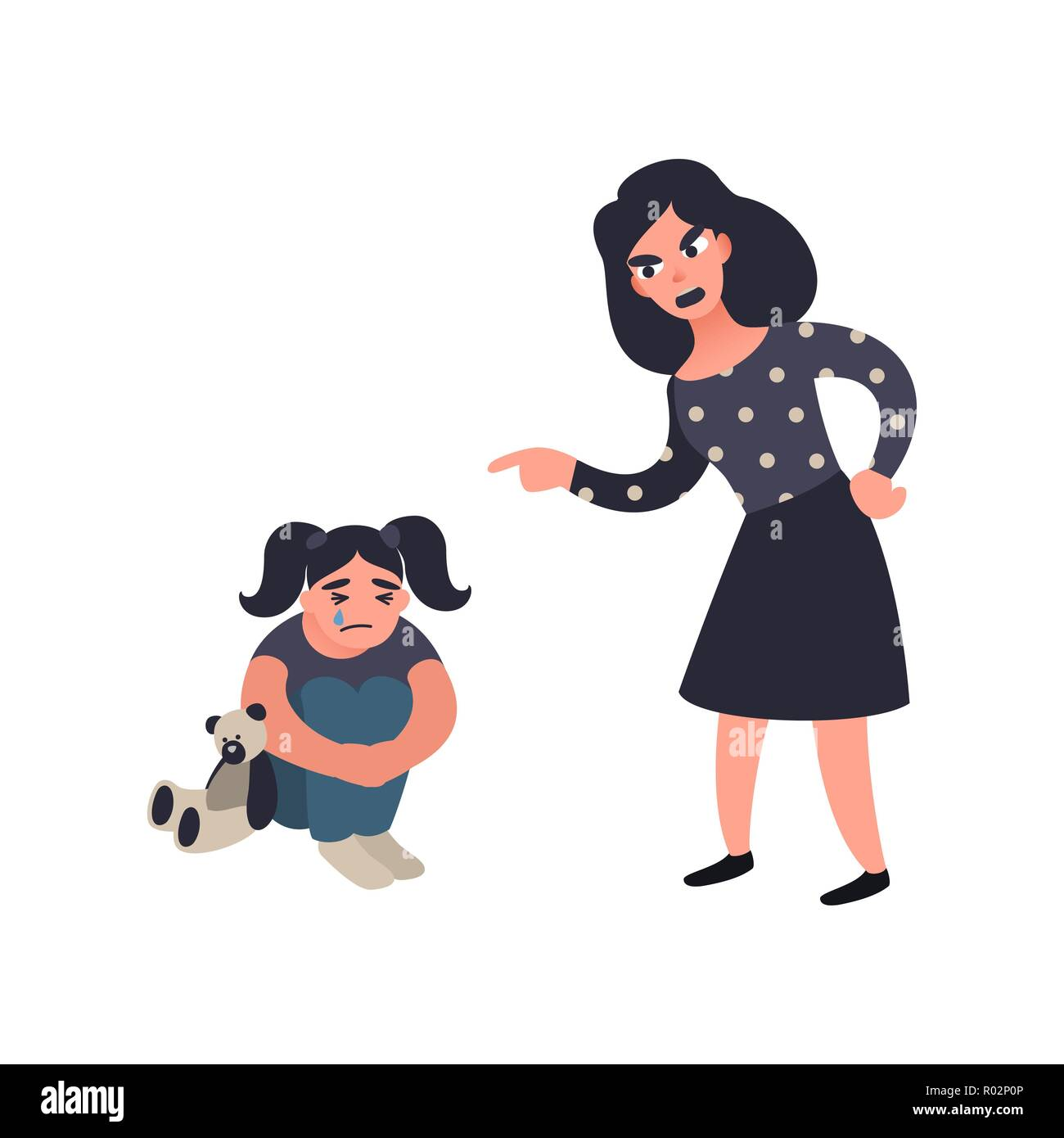 Mother punishing her little sad crying daughter. Mom scolds her child. Wrong education. Domestic conflict concept. Stock Vector