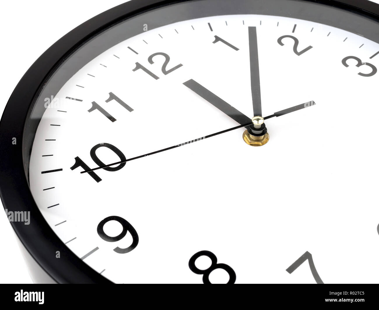 Clock or time abstract background, white clock and black needles, Twelve o'clock, seven minutes - Stock Image