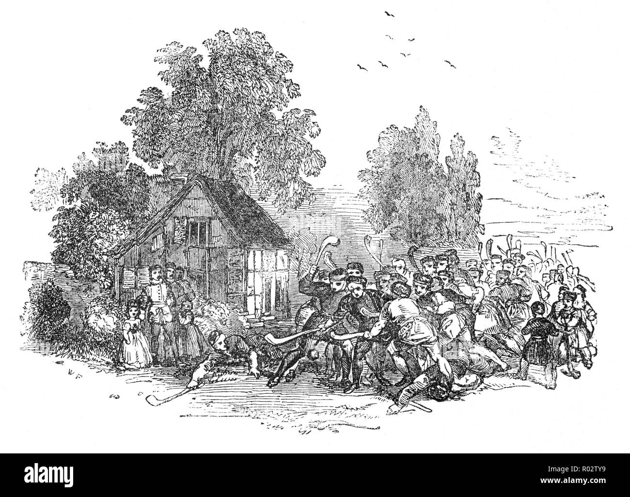 Medieval English Hurling was a game enjoyed by the lower and middle classes usually parish against parish. It was played over hills, dales, hedges, ditches, woodlands and rivers. - Stock Image