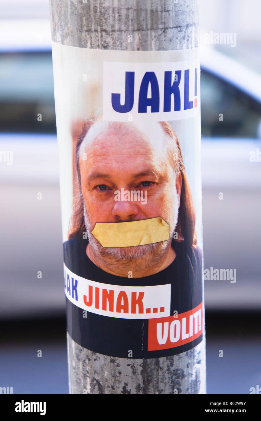 pre-election campaign sticker Ladislav Jakl, Senate elections 2018 in Prague, Czech Republic, October 31, 2018 (CTK Photo/Libor Sojka) - Stock Image