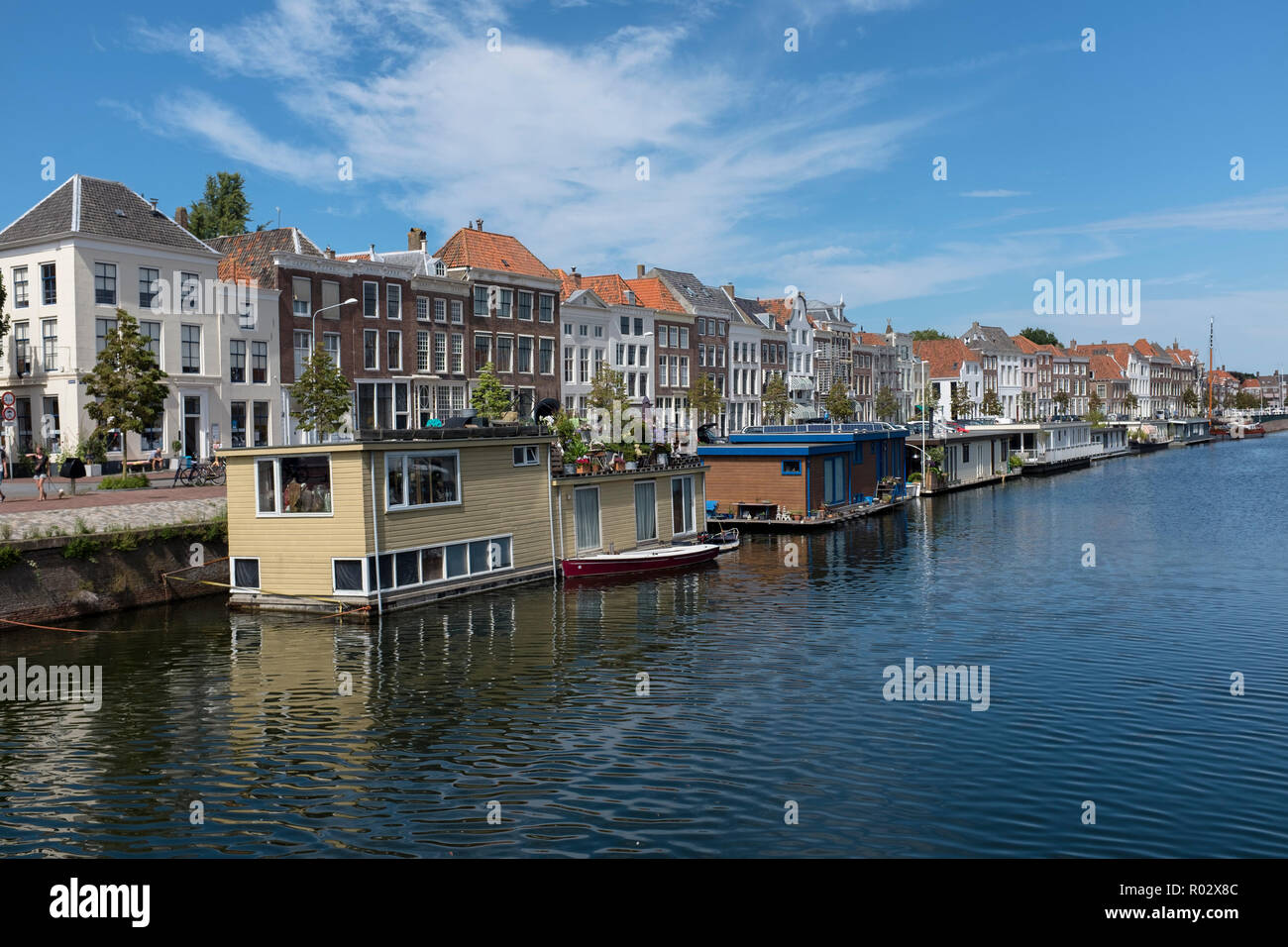 House boats on the river Scheldt at Middelburg, Netherlands Stock Photo