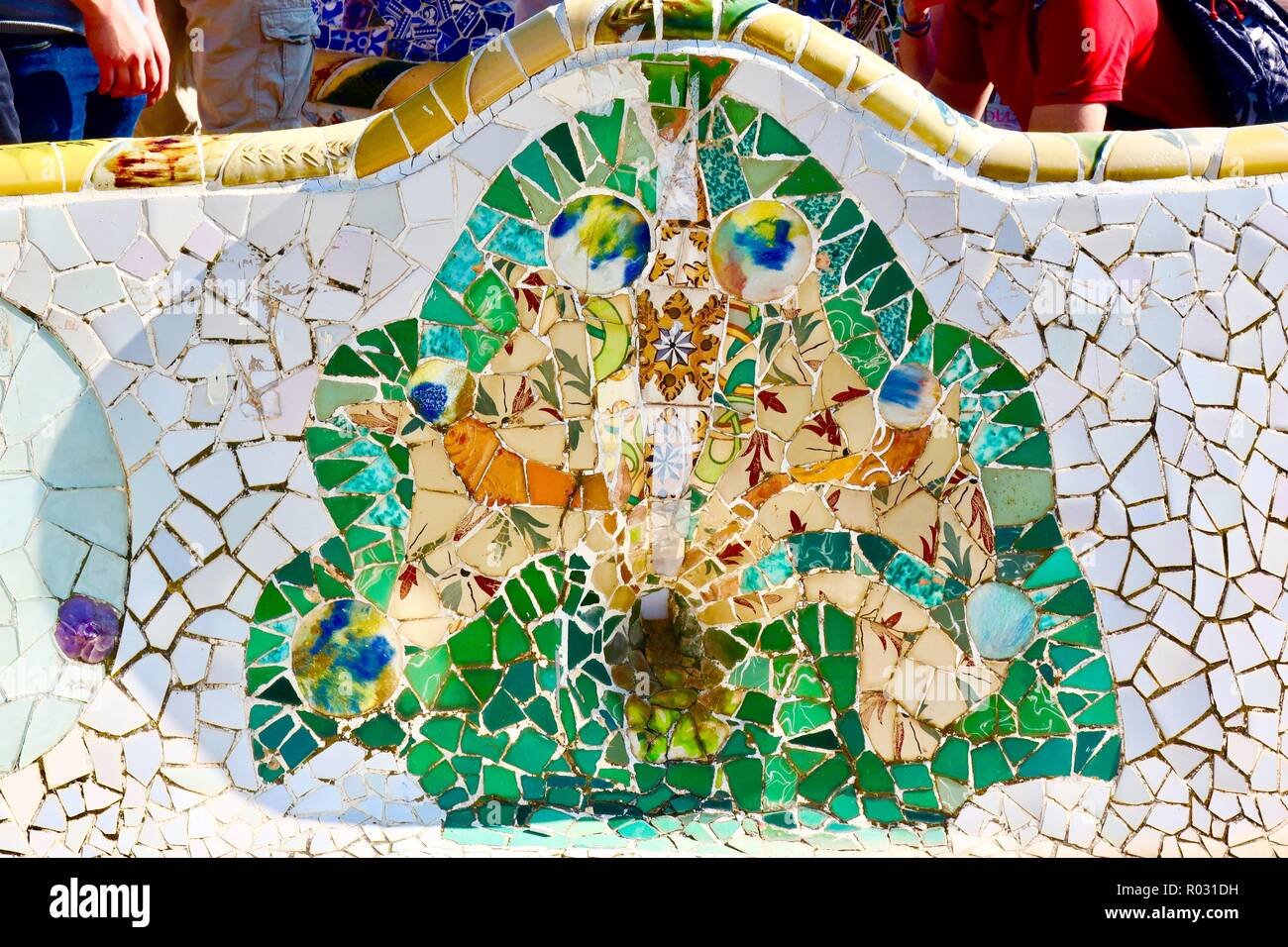 Barcelona, Spain, October 2018. Gaudi's mosaic art on a bench at Park Guell. - Stock Image
