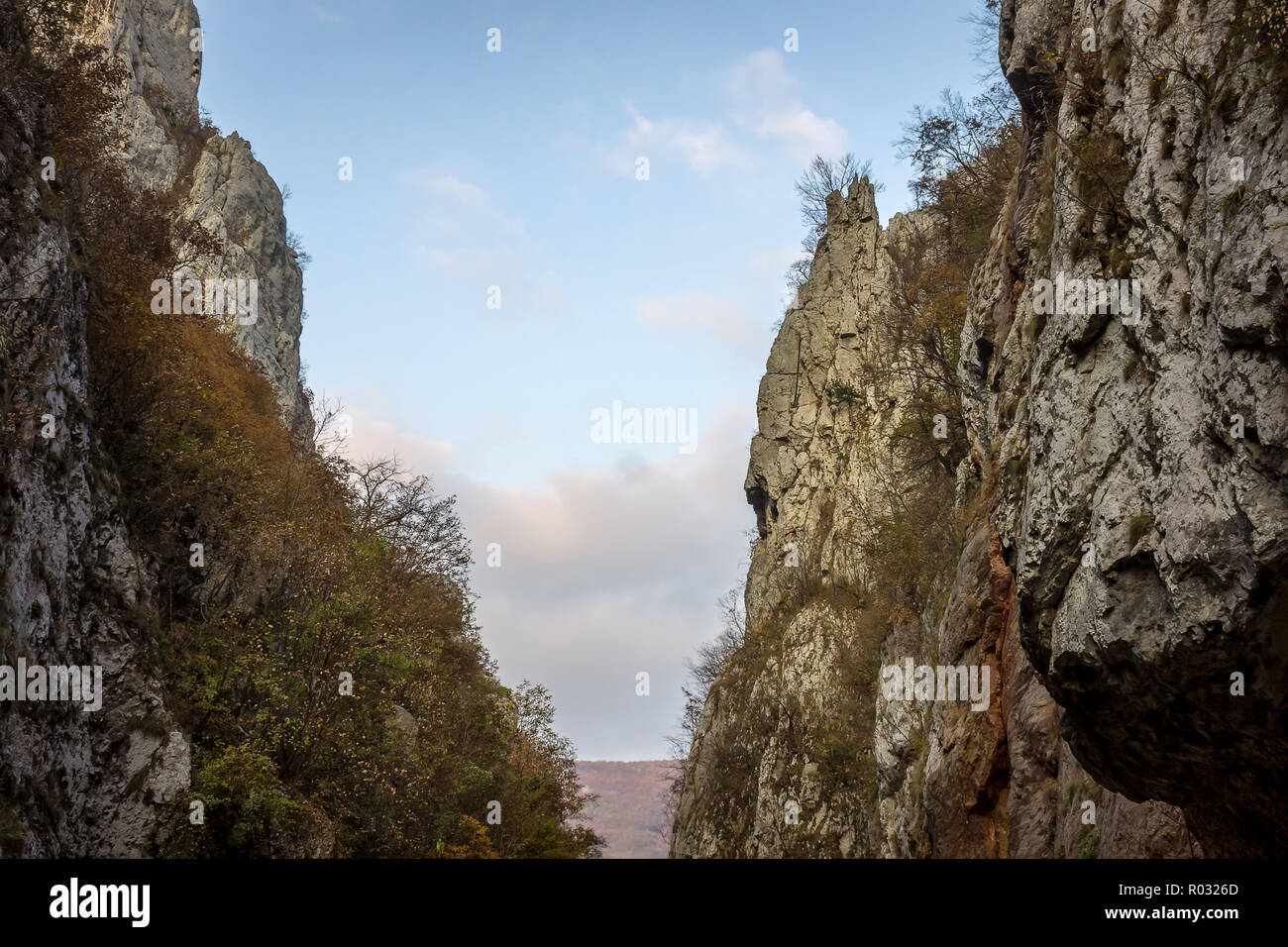 Amazing, contrasty view of beautiful, narrow canyon of Jerma river during autumn - Stock Image