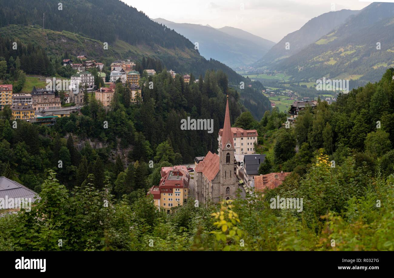 bad gastein, austria, august 5, 2018: aerial view of the austrian