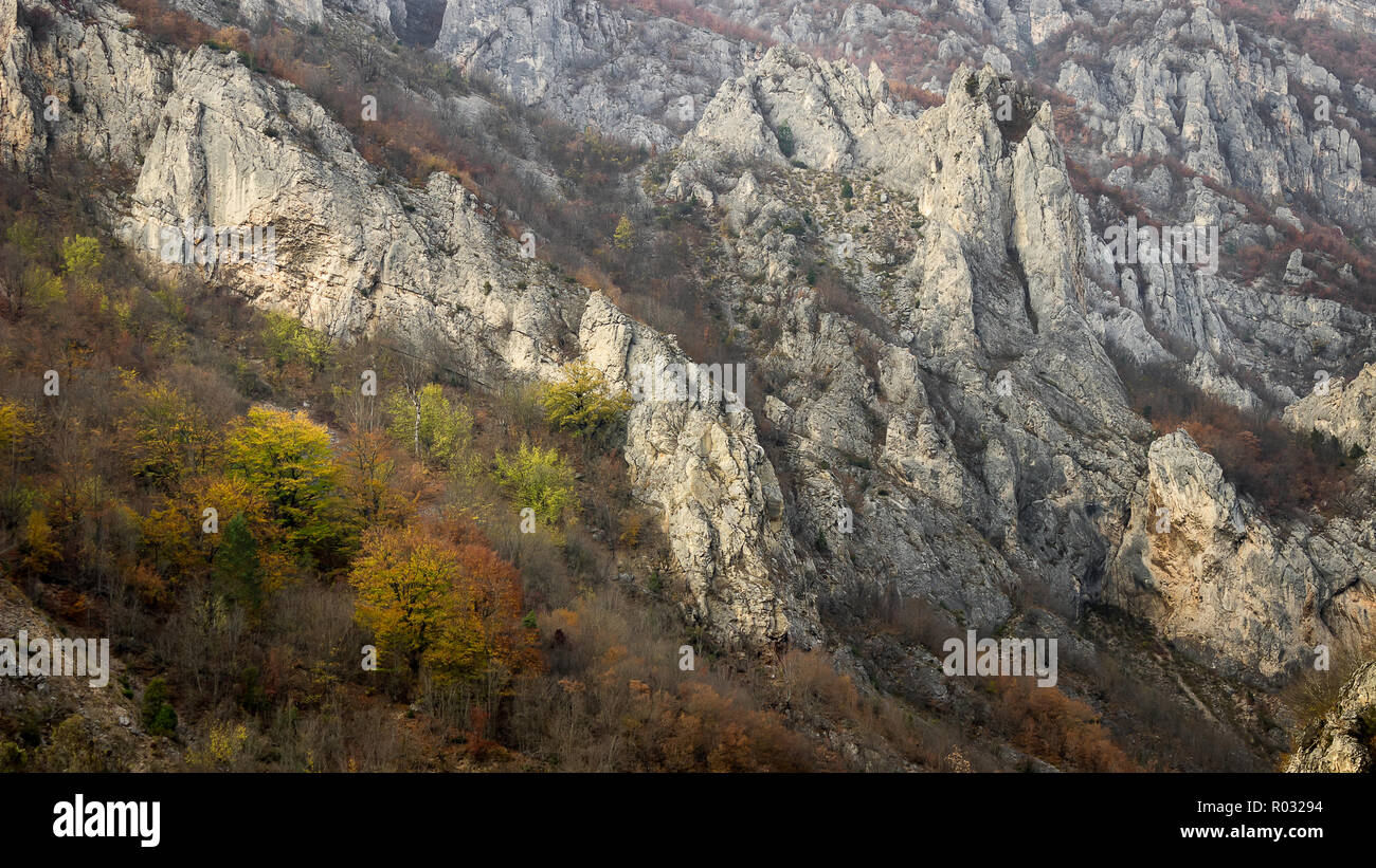 Rocky cliff, pointy rocks and autumn colored trees of canyon of Jerma river in Serbia - Stock Image