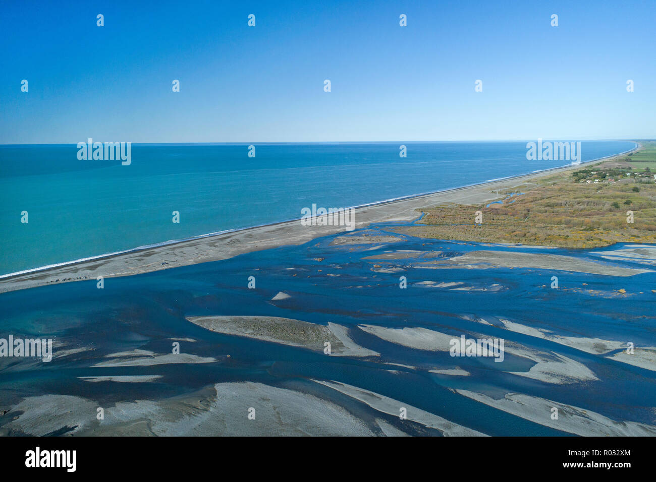 Rakaia River Mouth, and Pacific Ocean, Mid Canterbury, South Island, New Zealand - aerial - Stock Image