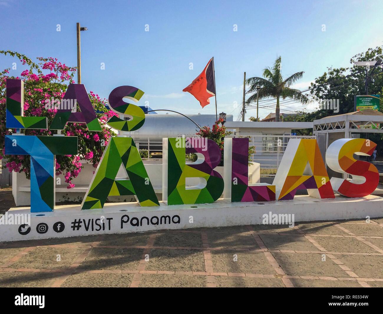 Las Tablas Panama March 2018 Famous Colorful Name Sign Of The City Las Tablas In Republic Of Panama Stock Photo Alamy