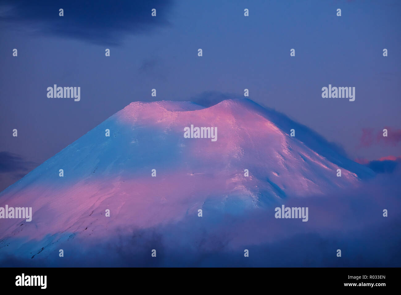 Alpenglow on Mt Ngauruhoe at sunset, Tongariro National Park, Central Plateau, North Island, New Zealand - Stock Image