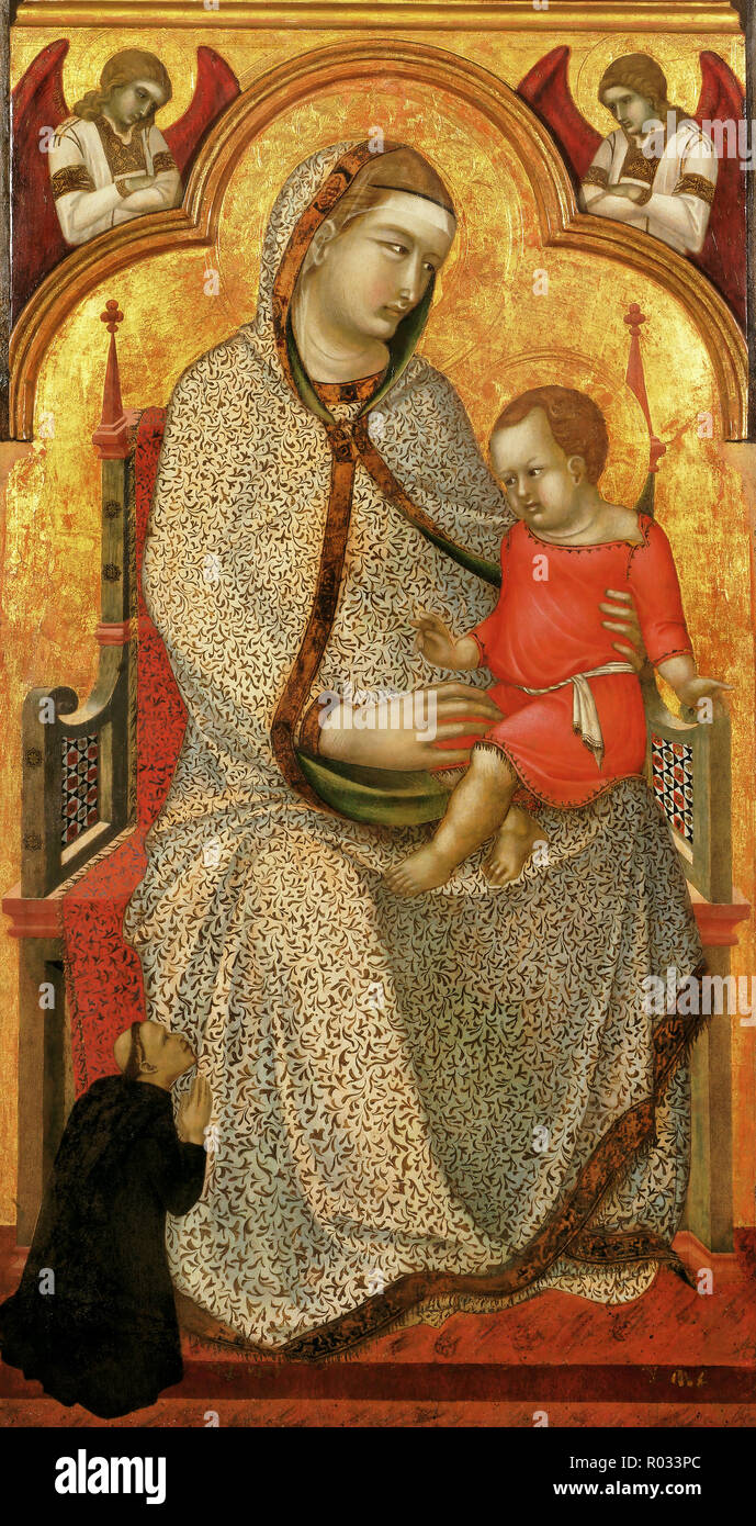 Pietro Lorenzetti, Virgin and Child Enthroned and Donor, Angels Circa 1320, tempera and tooled gold on panel, Philadelphia Museum of Art, USA. - Stock Image