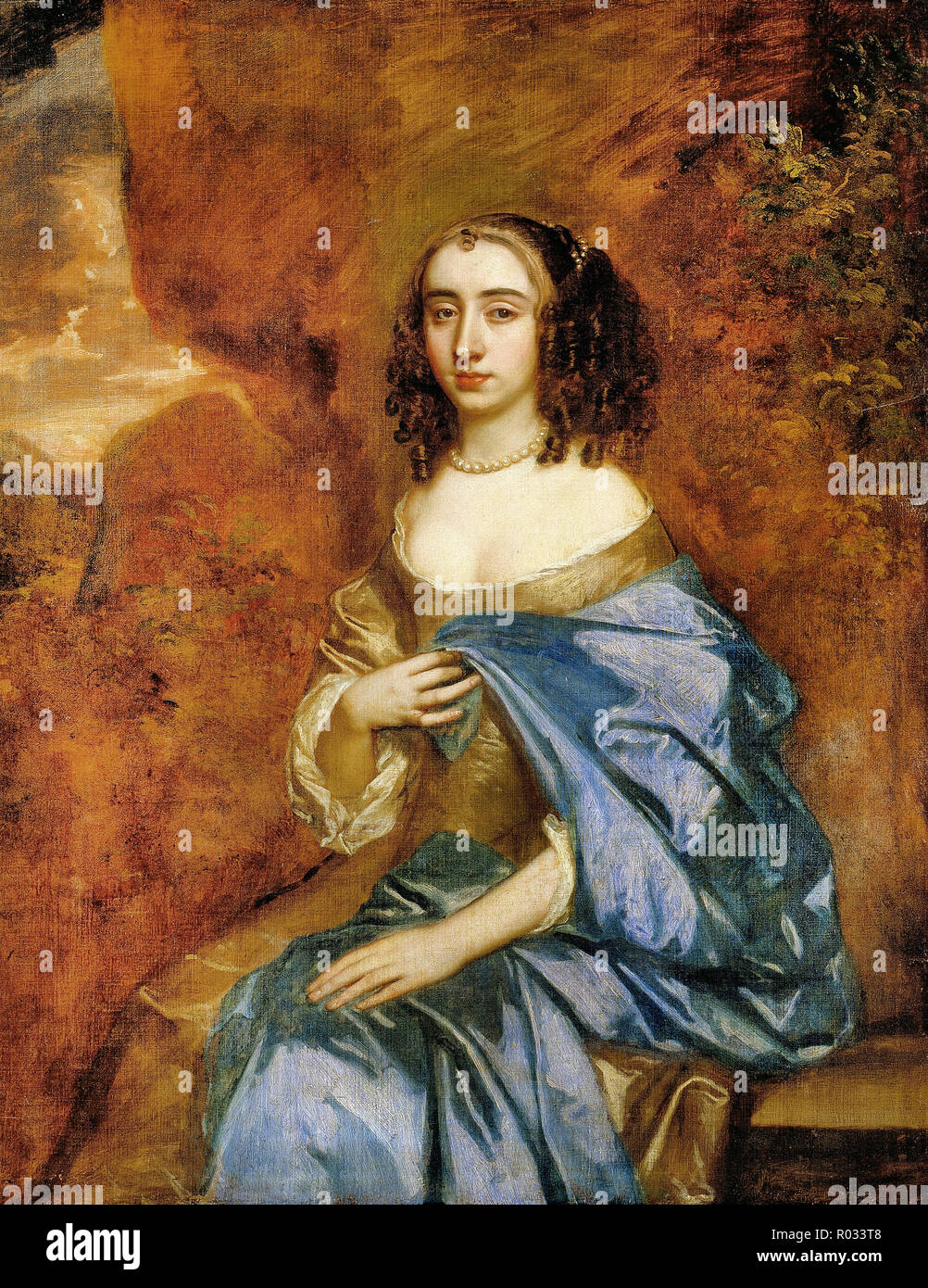 Peter Lely, Portrait of a Lady with a Blue Drape, Circa 1660 Oil on canvas, Dulwich Picture Gallery, London, England. - Stock Image