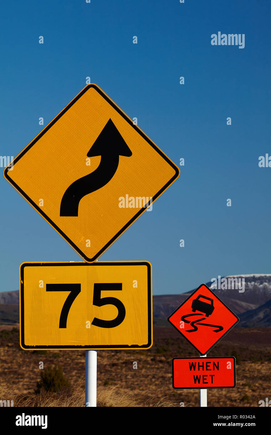 Road signs, Desert Road, North Island, New Zealand - Stock Image