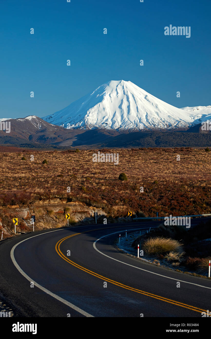 Mt Ngauruhoe and Desert Road, Tongariro National Park, Central Plateau, North Island, New Zealand Stock Photo