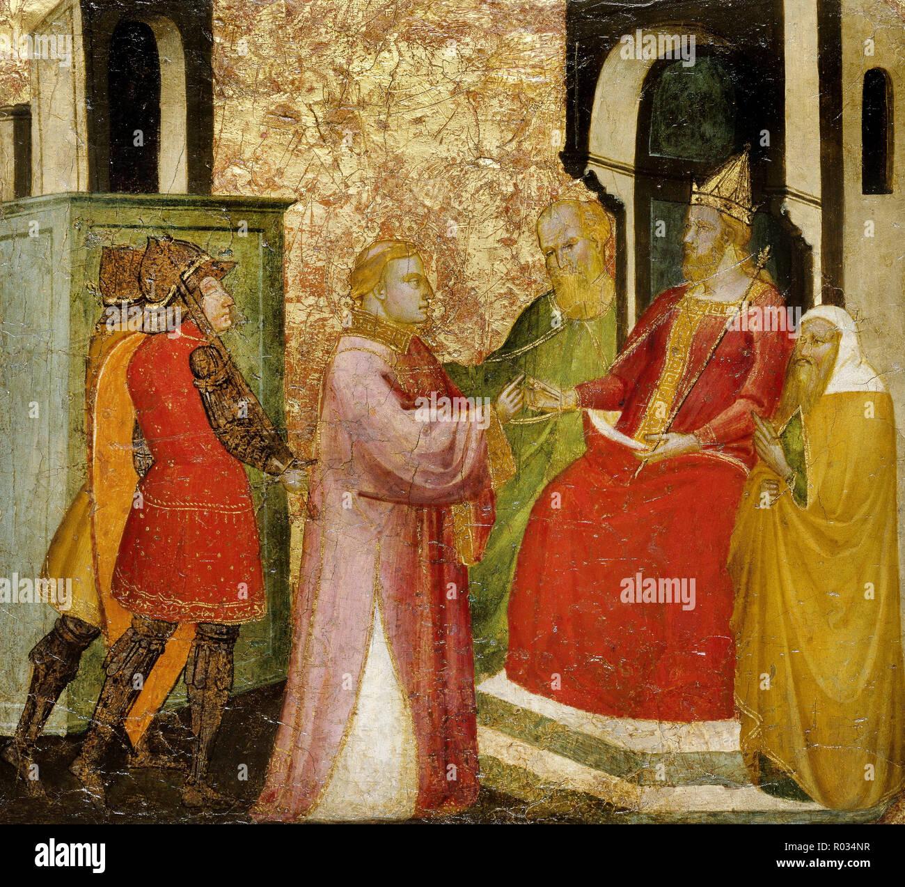 Lorenzo di Niccolo, Saint Lawrence Arraigned Before the Prefect Valerianus, Circa 1412, Tempera and tooled gold on poplar panel, Brooklyn Museum, New York City, USA. - Stock Image