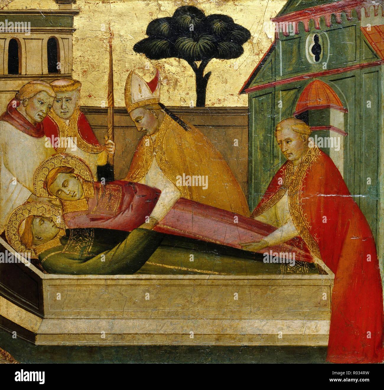 Lorenzo di Niccolo, Saint Lawrence Buried in Saint Stephens Tomb, Circa 1412, Tempera and tooled gold on poplar panel, Brooklyn Museum, New York City, USA. - Stock Image