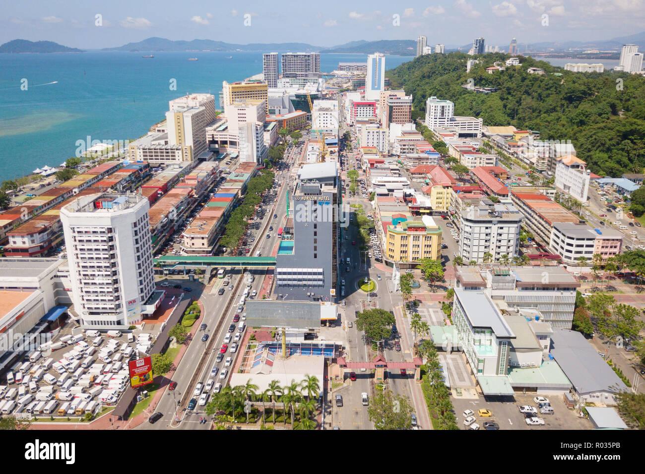 Kota Kinabalu Sabah Malaysia - Oct 16, 2018 : Partial view of Kota Kinabalu city . Kota Kinabalu is a capital city of Sabah state located at north Bor - Stock Image