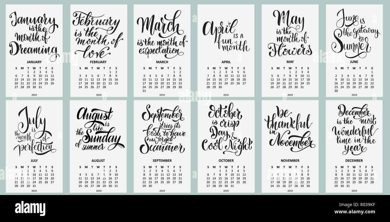 Calendario Con Week 2019.Calendar 2019 Week Starts On Sunday Lettering Phrases