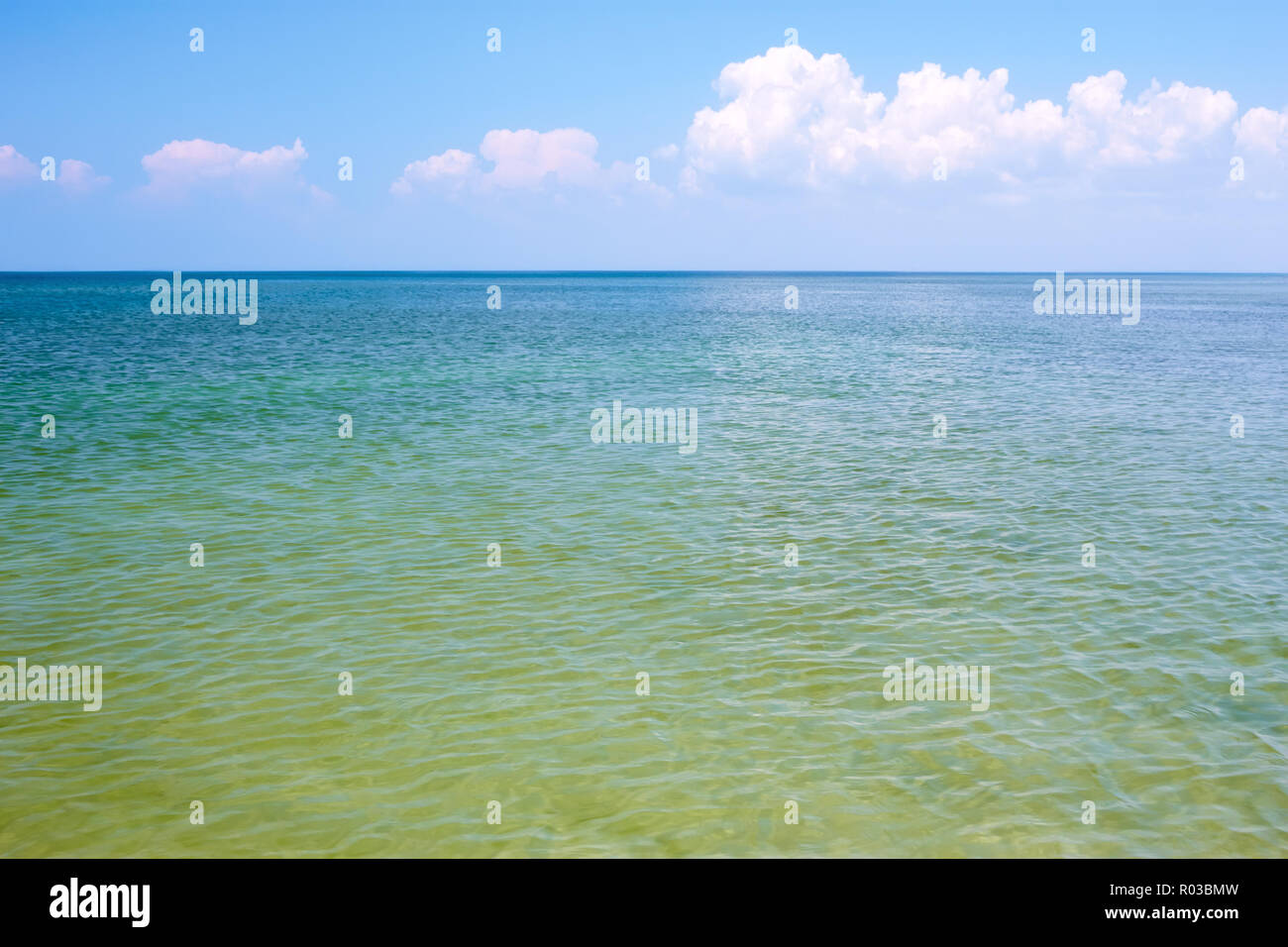 Seascape. Coastal shallow water in calm summer weather late morning - Stock Image