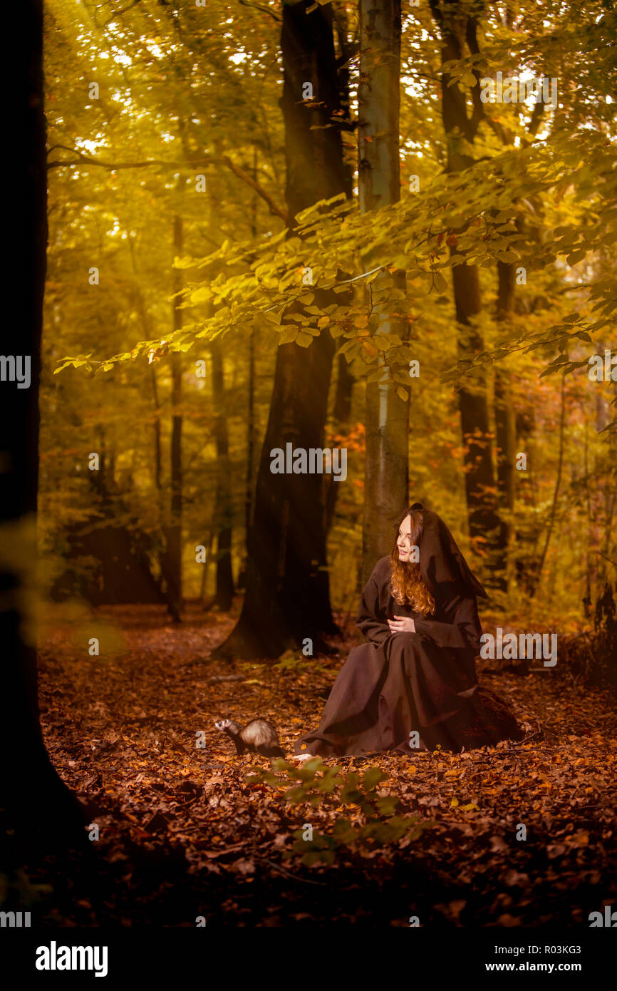 Mysterious Woman in Forest - Stock Image
