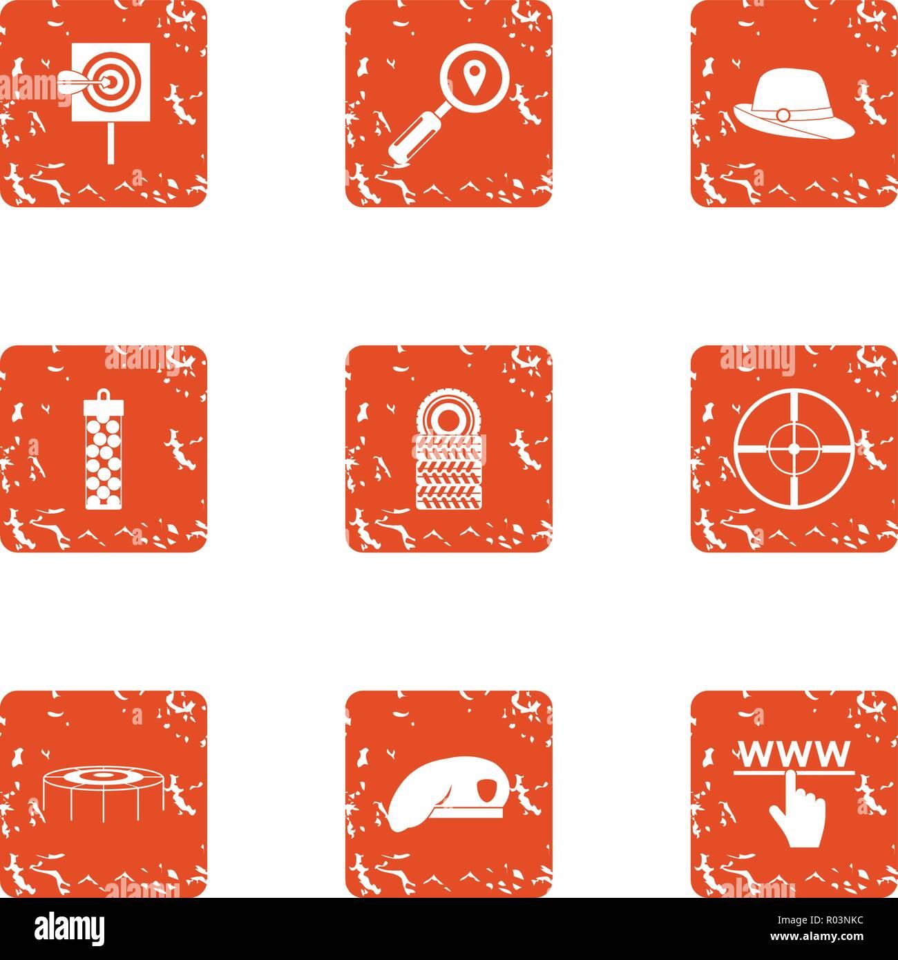Sighting company icons set, grunge style - Stock Image