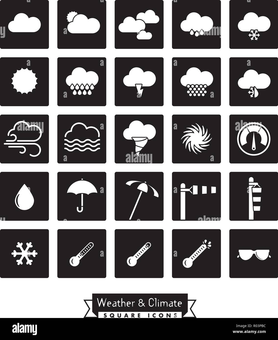 Collection of weather and climate related square black vector icons - Stock Vector