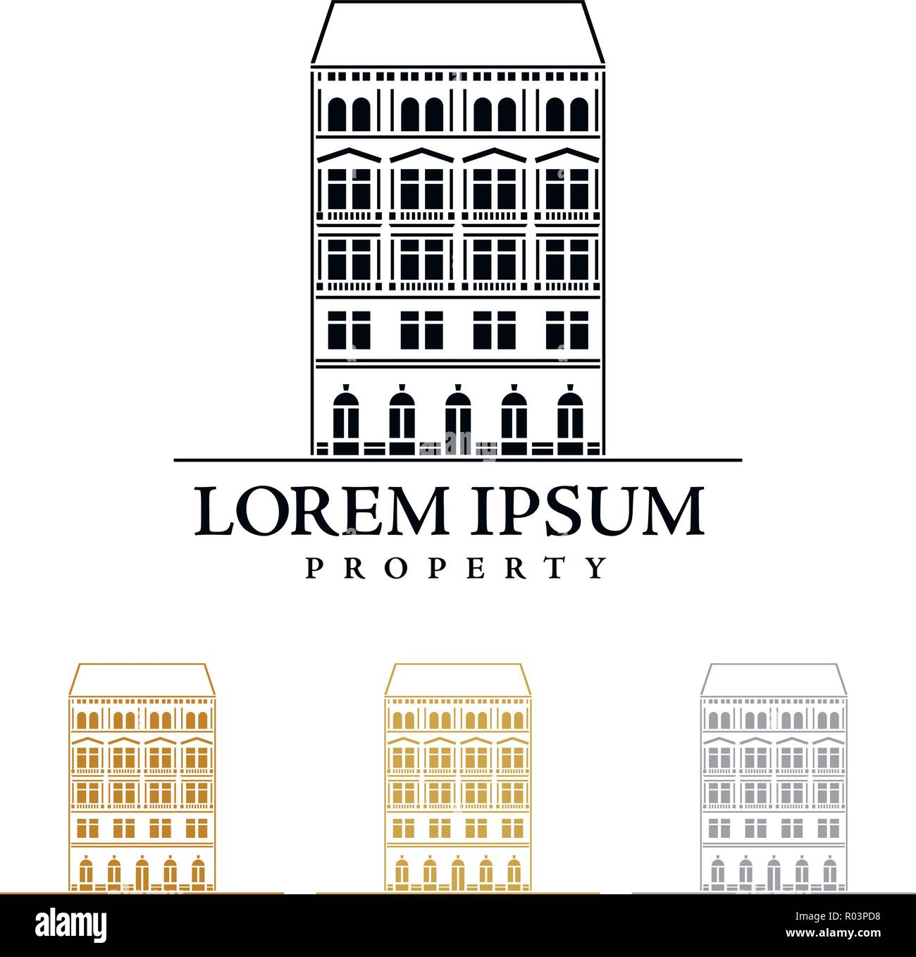 Property or real estate company vector logo template with imperial style house - Stock Vector
