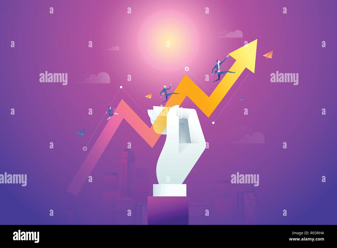 Business team running on drawn data graph. Vector illustration business concept, Graph and chart, Cartoon character Stock Vector