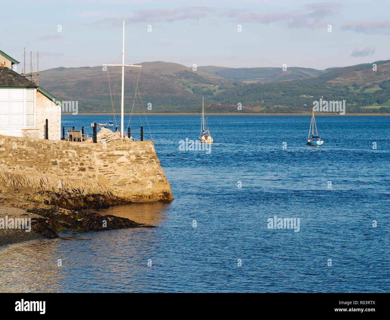 Late summer evening scene on the Dovey (Dyfi) estuary at Aberdovey (Aberdyfi) in Wales. Stock Photo